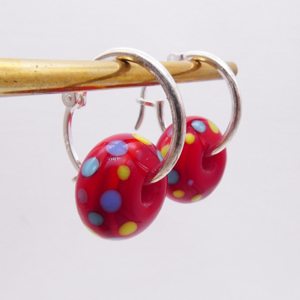 Sterling Silver beaded hoops-Red