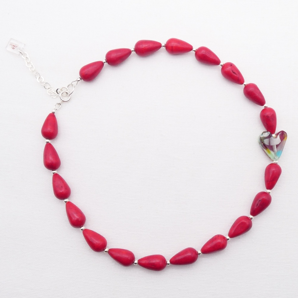 Red howlite teardrop Necklace