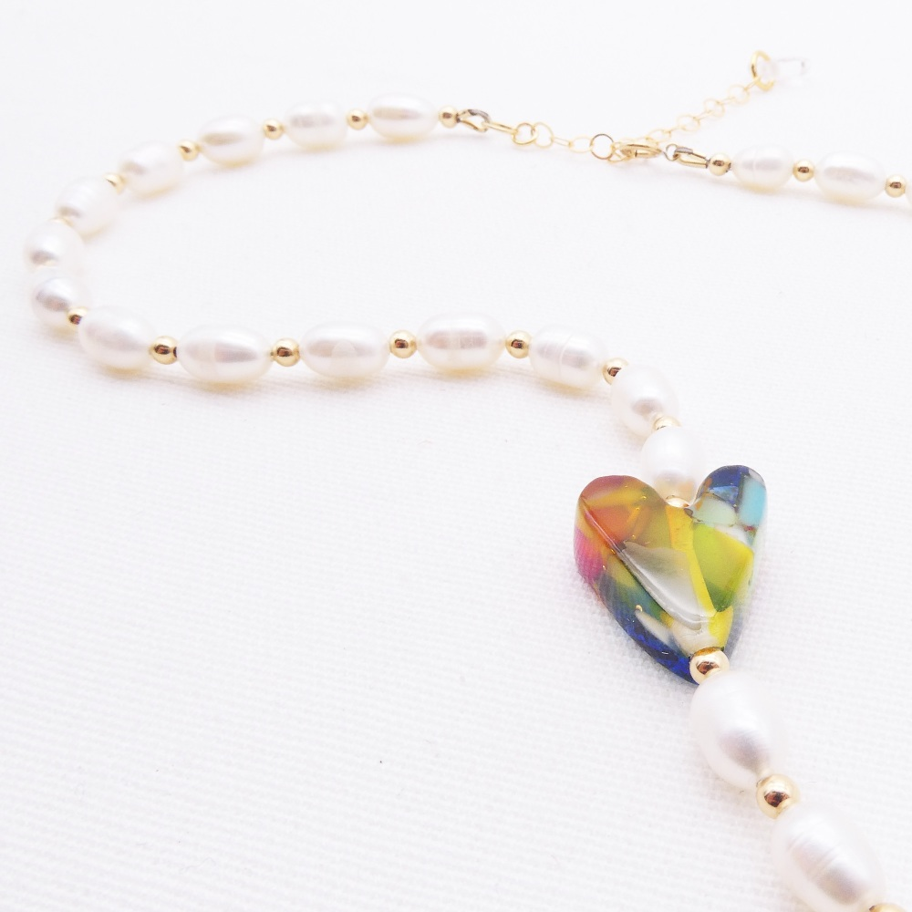 Freshwater Pearl and glass heart Necklace.