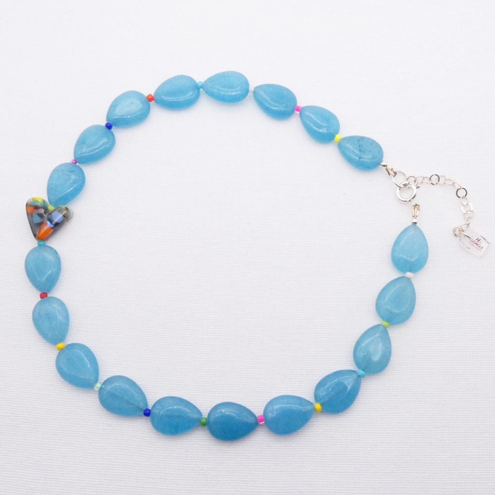Aquamarine gemstone and glass heart Necklace