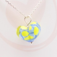 Blue and yellow Glass Heart Necklace