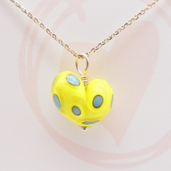 Yellow and Turquoise Glass Heart Necklace