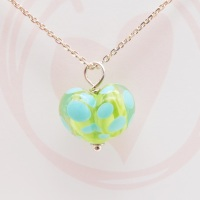 Green and Turquoise Glass Heart Necklace