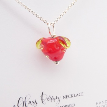 Glass Strawberry Necklace- silver