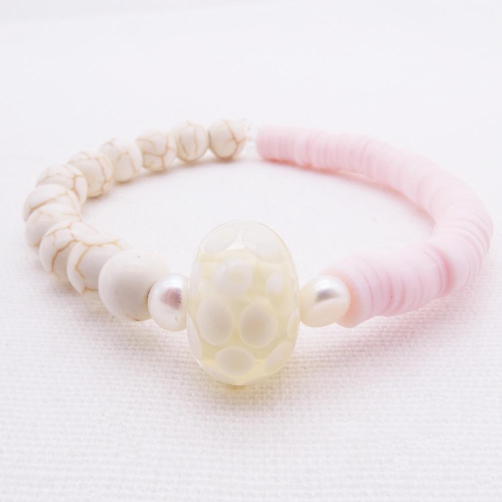 Pink and lemon yellow bracelet