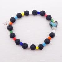 Black lava bead bracelet with turquoise heart