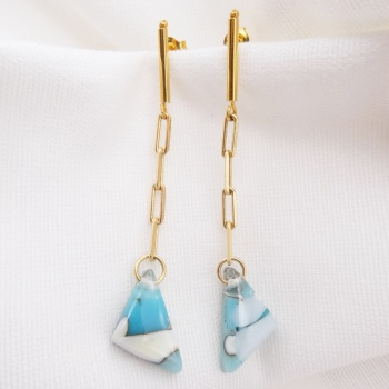 Pastel  geo drop earrings on filled gold