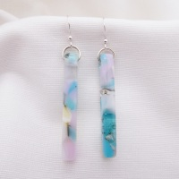 Pastel Glass pillar earrings on silver #2