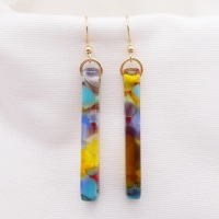 Multicoloured pillar earrings on filled gold #2