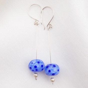 Light blue and Navy Silver Drop Earrings