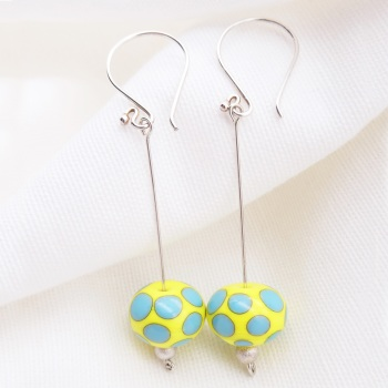 Yellow and Turquoise Silver Drop Earrings