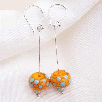 Orange and Turquoise Silver Drop Earrings