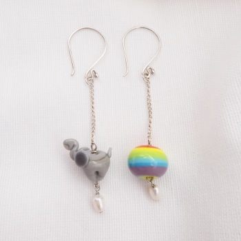 Elephant and Rainbow earrings