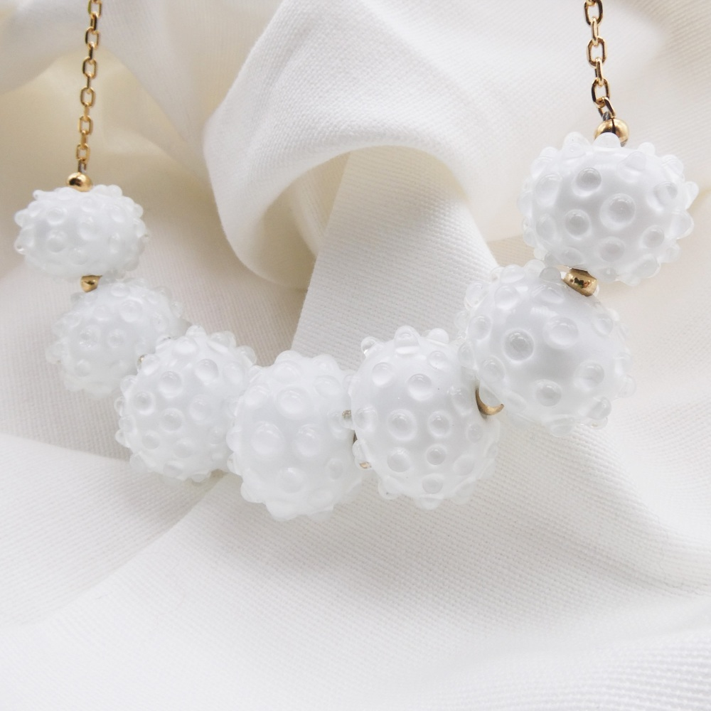 White glass bauble necklace
