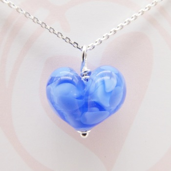 Blue Glass Heart Necklace