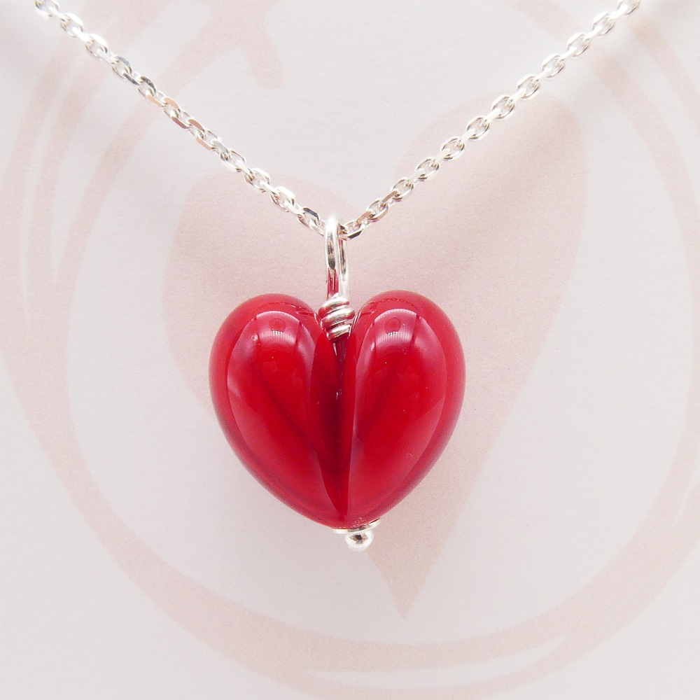 Red Glass Heart Necklace