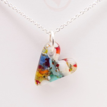 Multicoloured glass heart on silver #2
