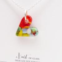 Multicoloured glass heart on silver #3