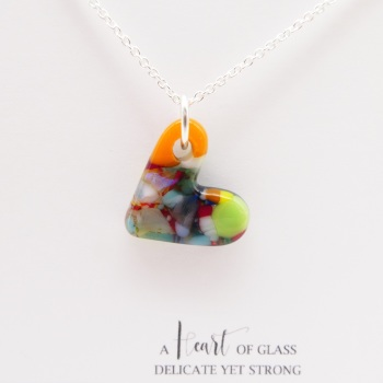 Multicoloured glass heart on silver #4