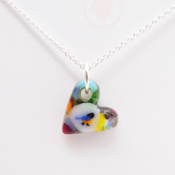 Miliforie glass heart on silver #2