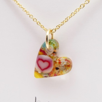Miliforie glass heart on filled gold #2
