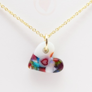 Miliforie glass heart on filled gold #3