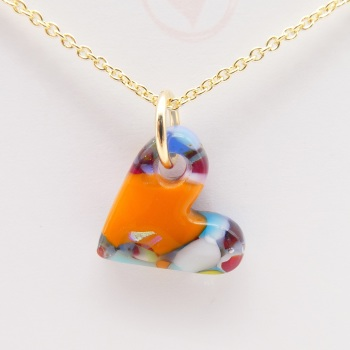 Multicoloured glass heart on filled gold #2