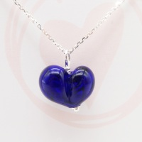 Dark Blue Glass Heart Necklace