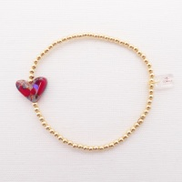 Simply Gold Bracelet with a multicoloured Glass Heart #2