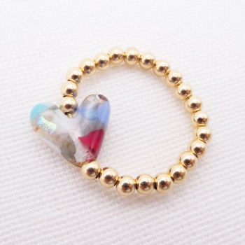 Simply Gold Ring with Glass Heart #2