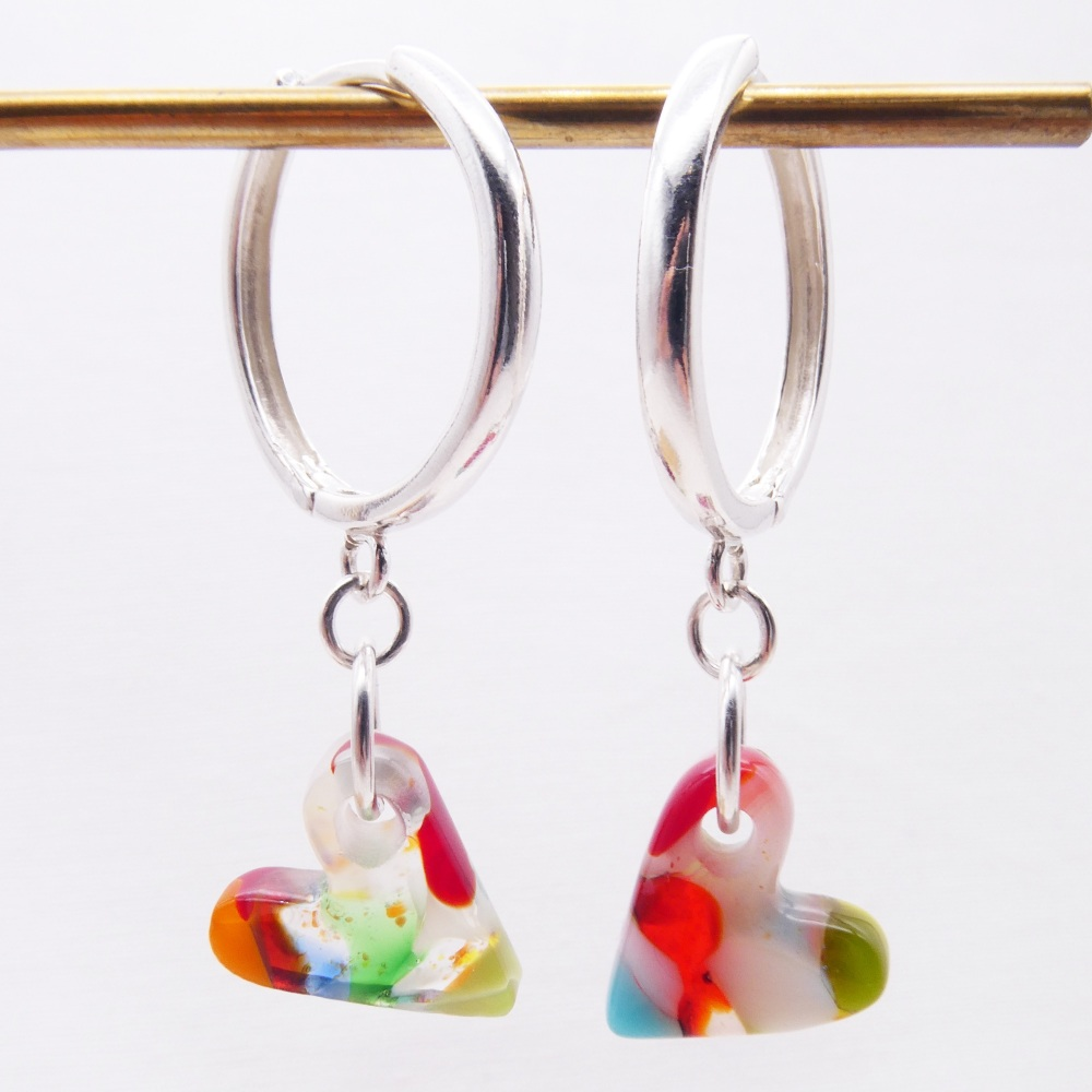Glass Heart earrings on sterling silver Hoops-big