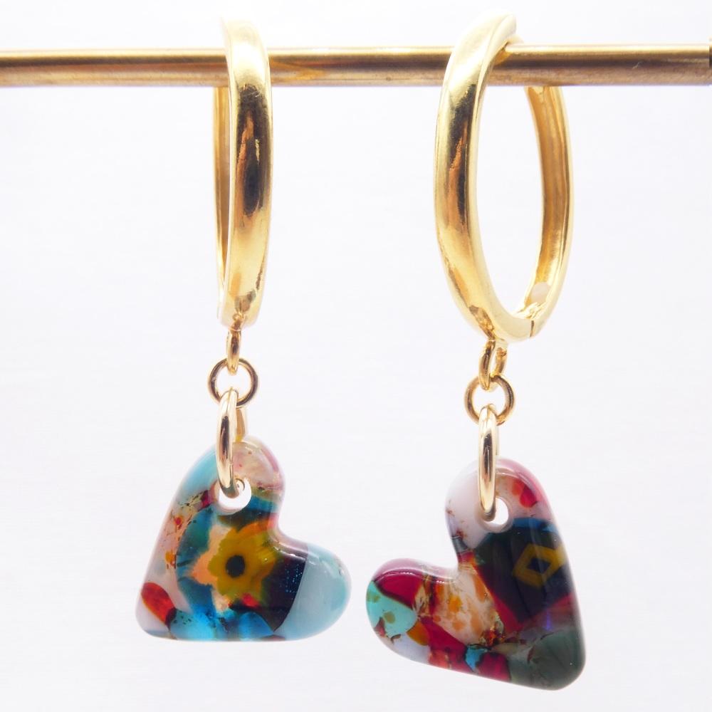Glass Heart earrings on gold filled Hoops-big