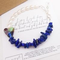 Freshwater Pearl Bracelet with Lapis Lazuli