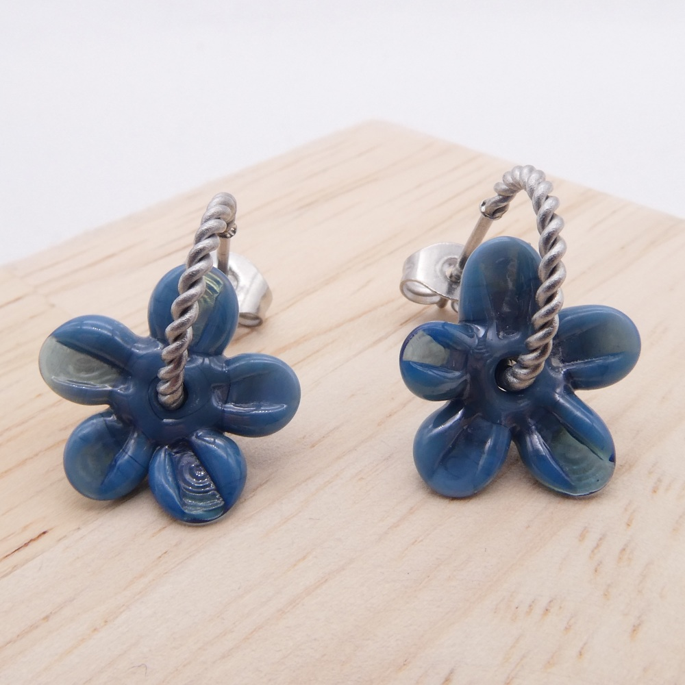 Small smoky teal flower twisted hoops-silver