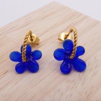 Small dark blue Flower twisted  hoop earrings-gold