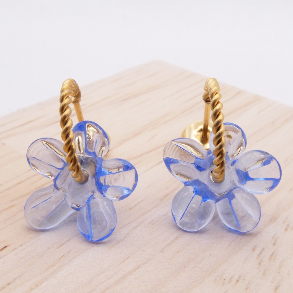 Small light blue Flower twisted  hoop earrings-gold