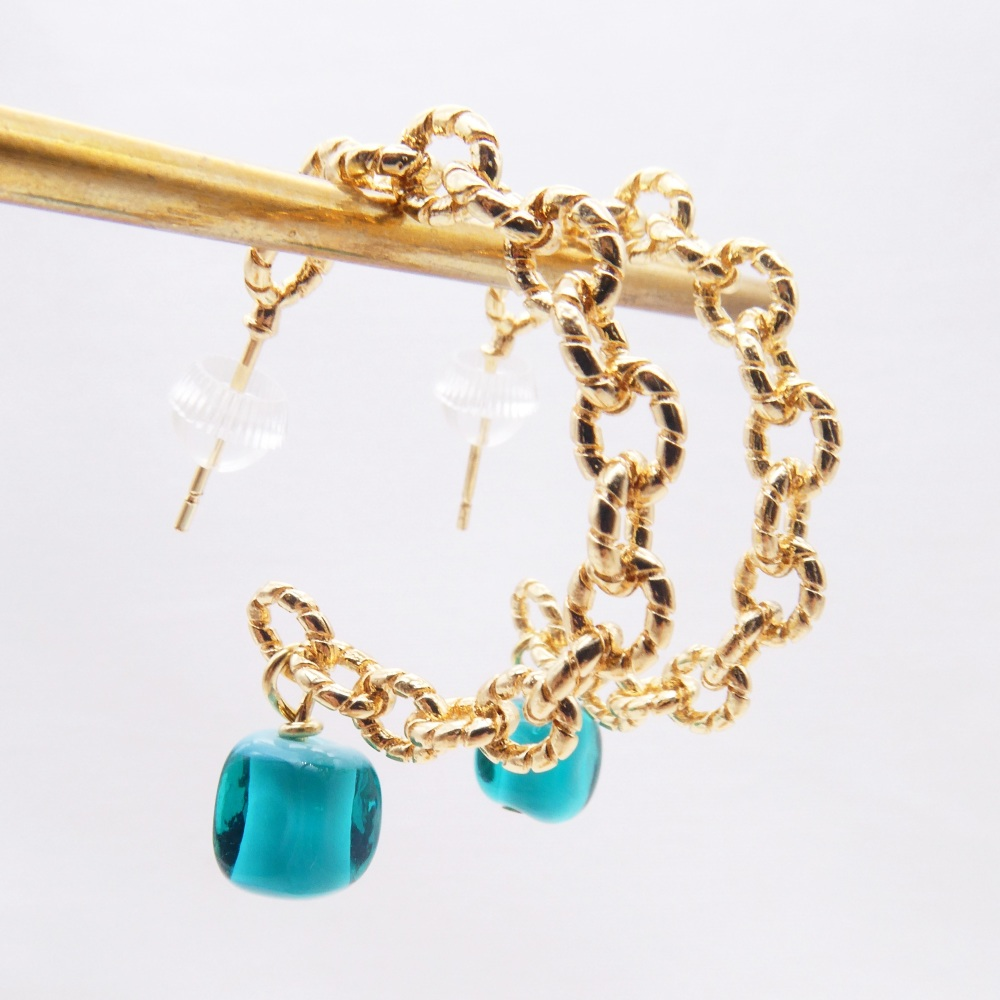 Big Chain hoops-Turquoise Glass