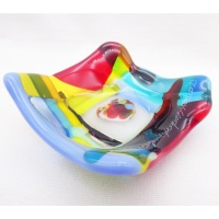 Tiny Fused glass Dish with Glass heart #4