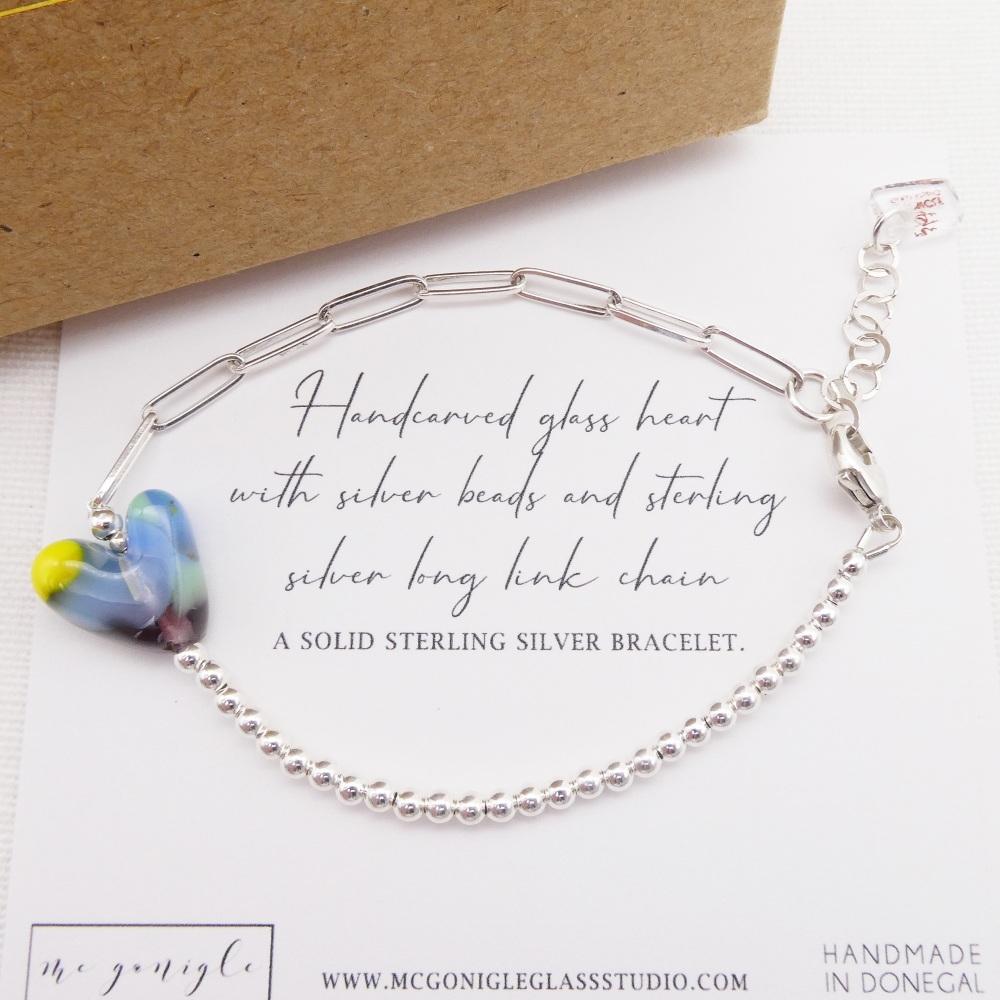 Handcarved glass heart Long link bracelet #2