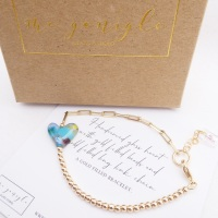 Handcarved glass heart on a Gold filled Long link bracelet with #1