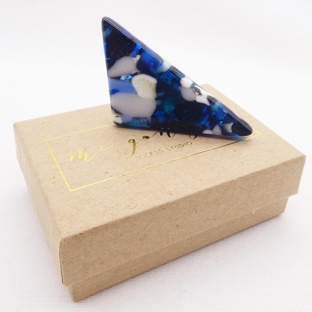 Blue Geo Glass Brooch #1