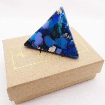 Blue Geo Glass Brooch #3