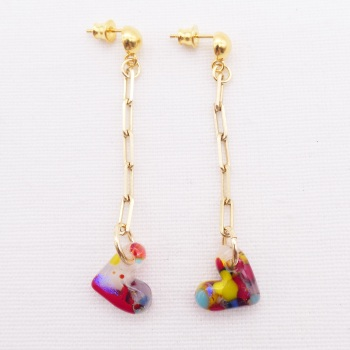 Multicoloured Glass Heart earrings on filled gold link chain