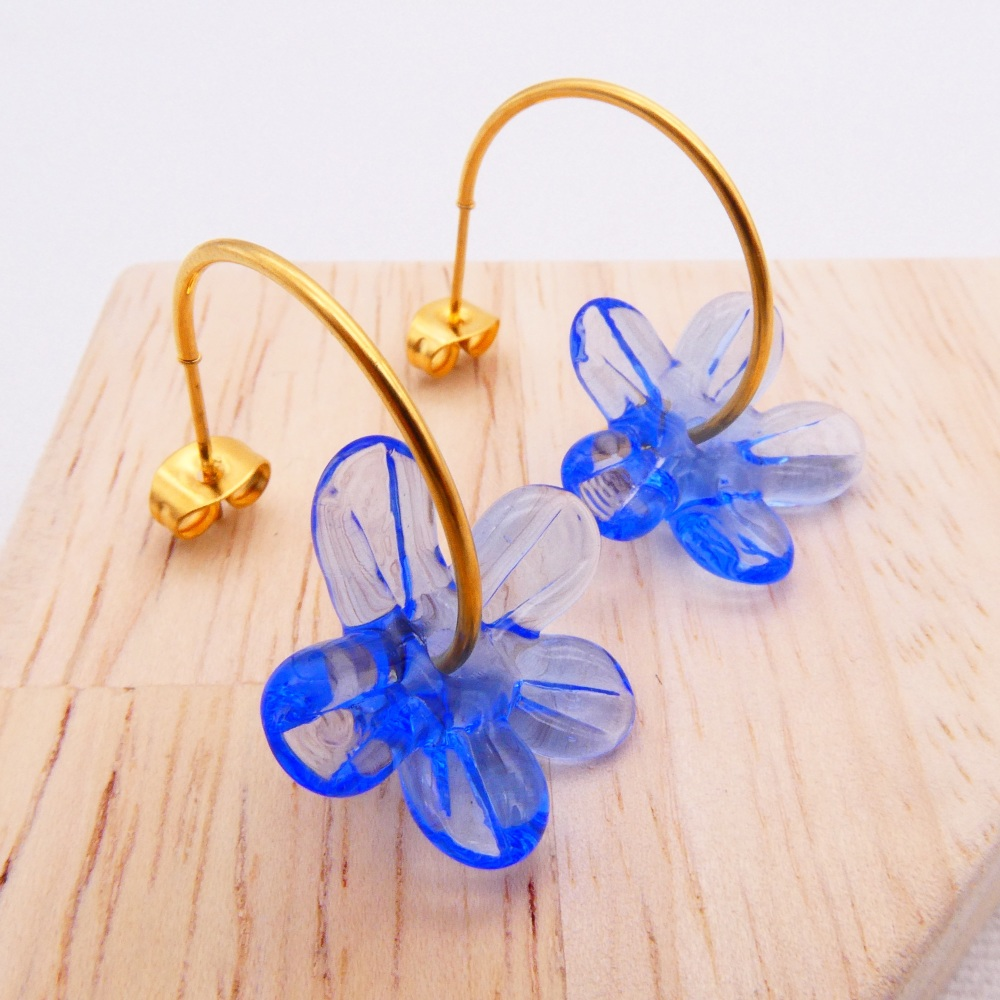 Big blue glass Flower hoop earrings-gold