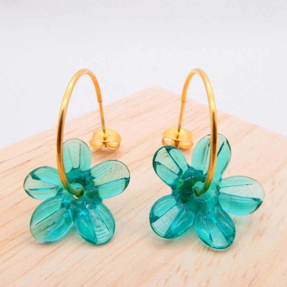 Big sea green glass Flower hoop earrings-gold