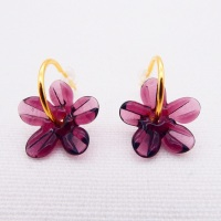 Medium Plum  glass Flower hoop earrings-gold