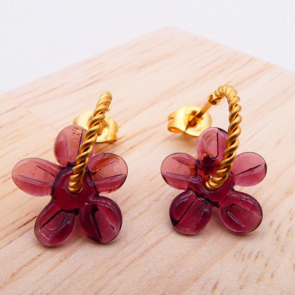 Small Plum Flower twisted  hoop earrings-gold