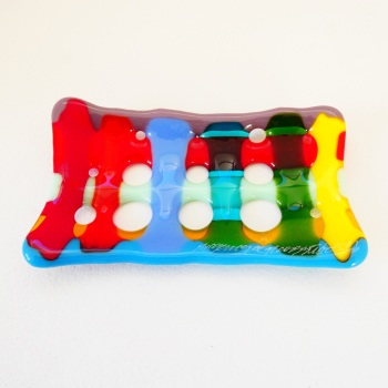 Multicoloured Fused Glass Soap Dish #1
