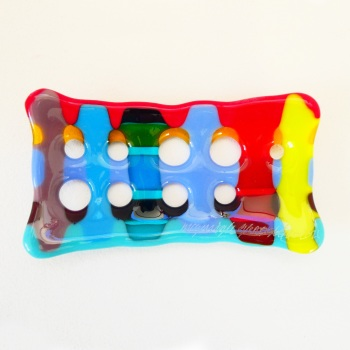 Multicoloured Fused Glass Soap Dish #2
