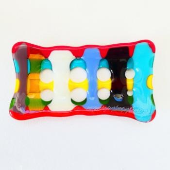 Multicoloured Fused Glass Soap Dish #4